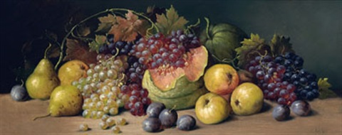 still life with watermelon grapes pears and plums by joseph decker