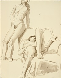 nude figure study by philip pearlstein