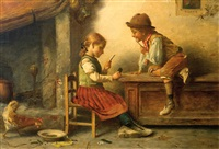 niños jugando naipes by alfredo goby