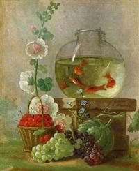 stillleben mit goldfischen, kirschen und blumen by johannes hendrik fredriks