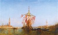 bateau pavoisé sur le bassin, venise by félix ziem