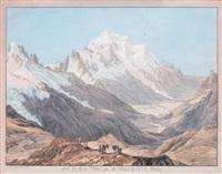 vue du mont-blanc, prise du sommet du col de balme by jean-antoine linck