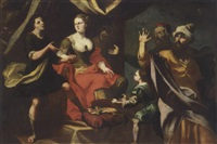 a mythlogical scene, possibly potiphar's wife accusing joseph before her husband by giuseppe antonio petrini