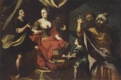 a mythlogical scene possibly potiphars wife accusing joseph before her husband by giuseppe antonio petrini