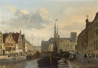 a view of the leie in ghent, with many figures on a quay by françois jean louis boulanger