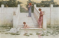 admiring the swans by henry ryland
