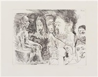 vieillard fantasmant: courtisane avec des hommes costumes rembrandtesque (from serie 347) by pablo picasso