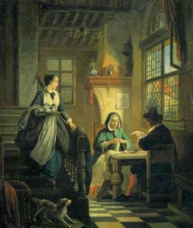 interieur mit ehepaar an einem tisch und magd mit serviertablett by william louis angus