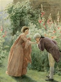 the greeting - figures in a garden landscape by jennie augusta brownscombe