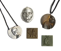 a collection of necklaces and a paperweight (set of 5) by robert graham