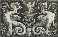 ornament mit zwei sphingen und geflügeltem mann by lucas van leyden