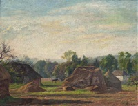 un paysage de foin en face d'une ferme (+ 2 others; 3 works) by charles-jean agard