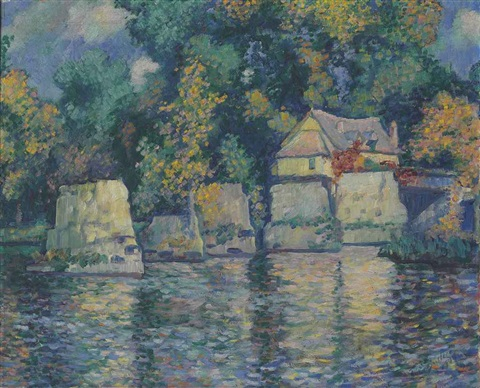 the red bridge in vernon near giverny by theodore earl butler