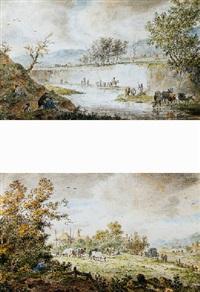 boeren met hun vee langs een rivier met op de voorgrond een kunstenaar by cornelis van noorde