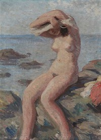 three beach views with nude women (3 works) by helge helme
