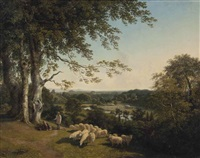 a bucolic landscape of the english countryside by william mulready