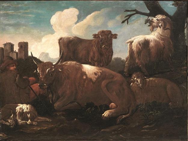 pastore in riposo con armenti by philipp peter roos