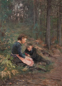 children picking berries by elisabeth warling