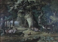 stags in a forest by philipp reinagle
