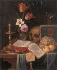 a vanitas still life of a candle, a vase of flowers, a skull, a roemer, a crab, a shrimp, and a hazelnut on a platter, with a book, a letter and fruits on a table by gaspar (smits, smith) smitz
