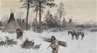 winter encampment by henry f. farny