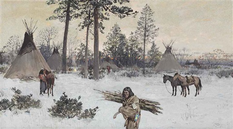 winter encampment by henry f farny