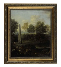 a pastoral landscape with an obelisk, shepherds, sheep and cows (+ another; 2 works) by john wootton