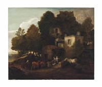 a lodge in a park, with children descending steps by thomas gainsborough