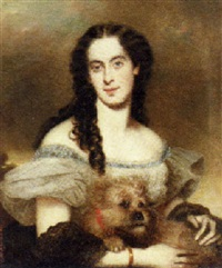 portrait of a lady with her dog by joseph mathäus aigner