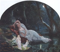 titania sleeping in the moonlight protected by her fairies by john simmons