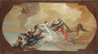 juno and other mythological figures amongst clouds; a bozzetto for a ceiling decoration by claudio francesco beaumont