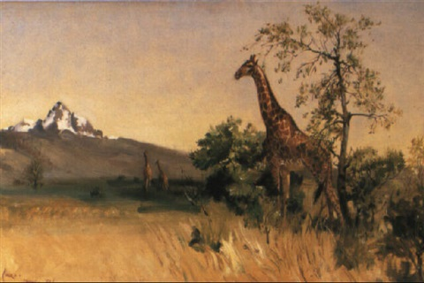 giraffe before mount kenya by terence cuneo