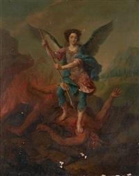 portrait allégorique dit du duc de gesvres enfant en saint michel terrassant le démon by pierre mignard