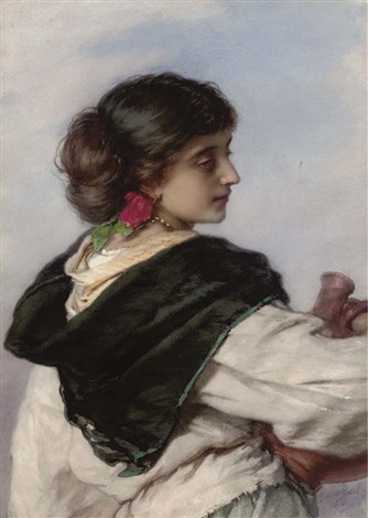 a young italian water carrier lost in thought by guido bach
