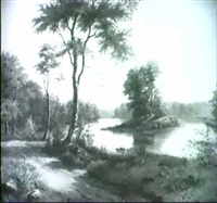 flussbigung in waldlandschaft by frederick-georg andersen