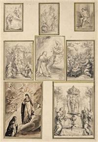 huit dessins représentant des scènes religieuses (8 works) by grégoire huret