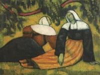 deux bretonnes aux champs by émile bernard