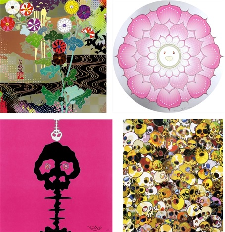 kansei gold lotus flower pink pink time mgst2011 set of 4 by takashi murakami