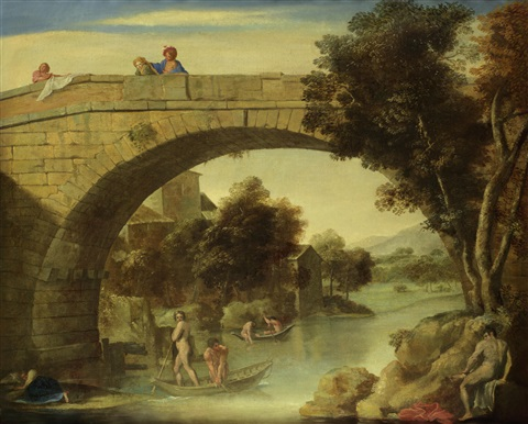 fishermen in a italianate river landscape with figures on a bridge by annibale carracci