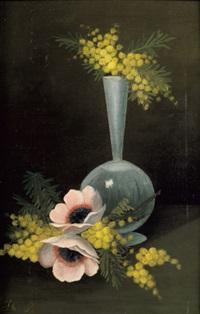 vase de fleurs, mimosa et deux anémones by henri rousseau