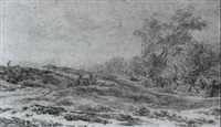 dune landscape with figures and animals by laurens vincentsz van der vinne the elder