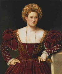 portrait of a lady, three-quarter length, in a burgundy dress by bernardino licinio