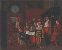 countryfolk dining in an interior by maximilian blommaerdt
