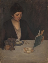 self portrait of the artist seated at a table by kathryn woodman leighton
