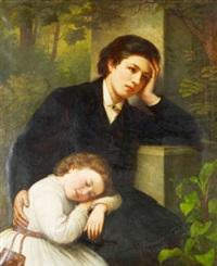 dubbelporträtt föreställande konstnärinnans brorsbarn by alida christina rabe