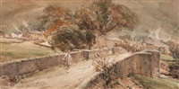 bridge at buckden, wharfedale in yorkshire by arthur reginald smith