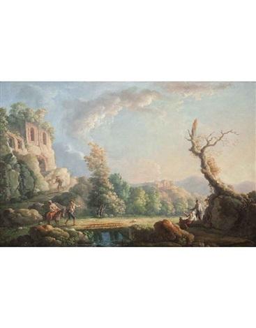 paesaggio fluviale con casa sulla sinistra (+ paesaggio fluviale con figure, ponte e casa sulla sinistra; 2 works) by carlo bonavia