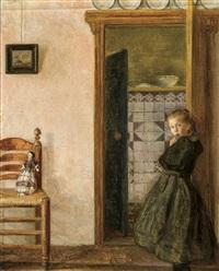 fille avec sa poupée dans un intérieur by louis albert roessingh