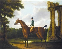 """drowsy"", a bay racehorse with jockey up, in a landscape by daniel quigley"
