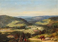 english summer landscape with a shepherd herding sheep and cattle by george vicat cole